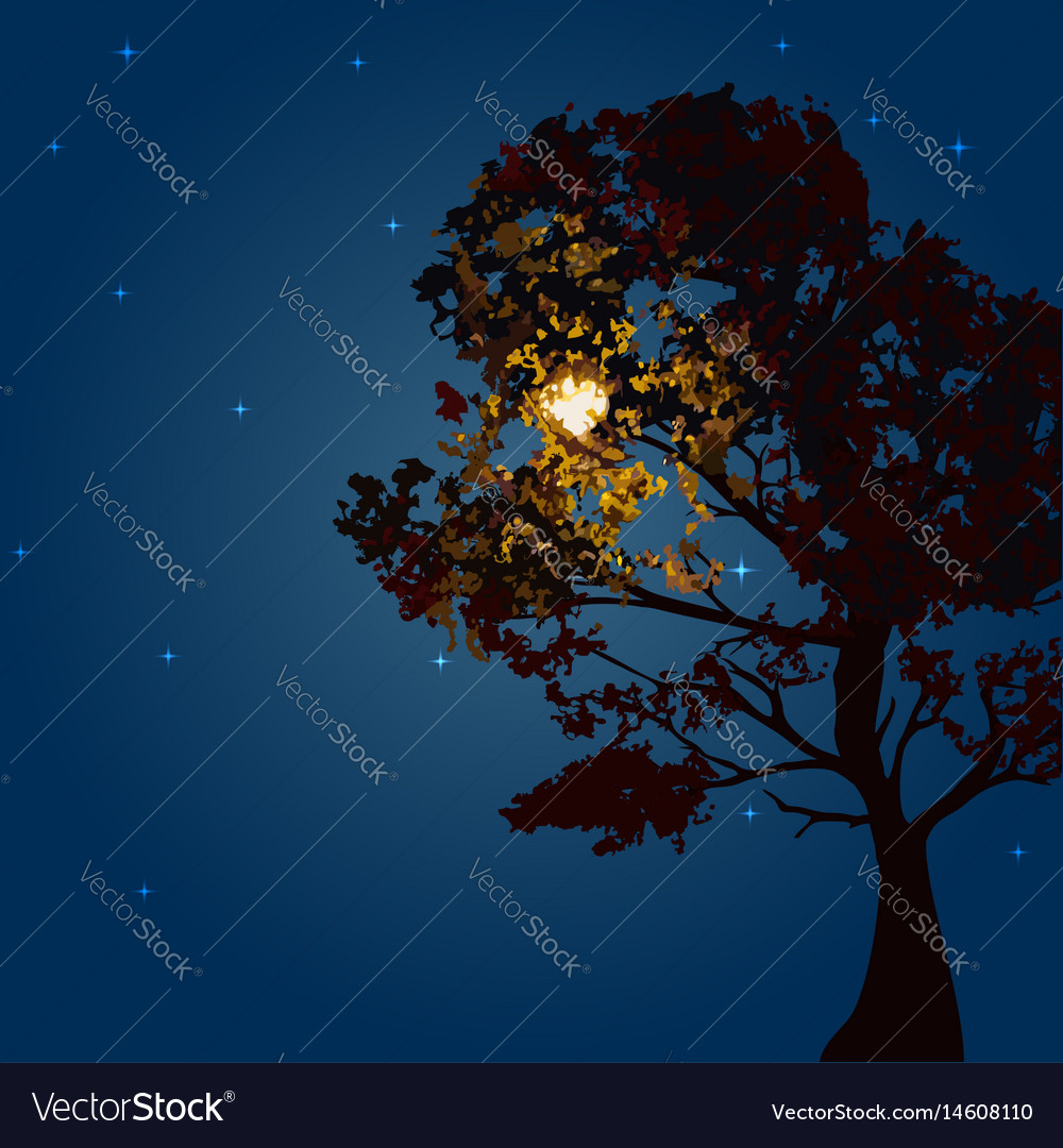Autumn tree on a background lunar night and the