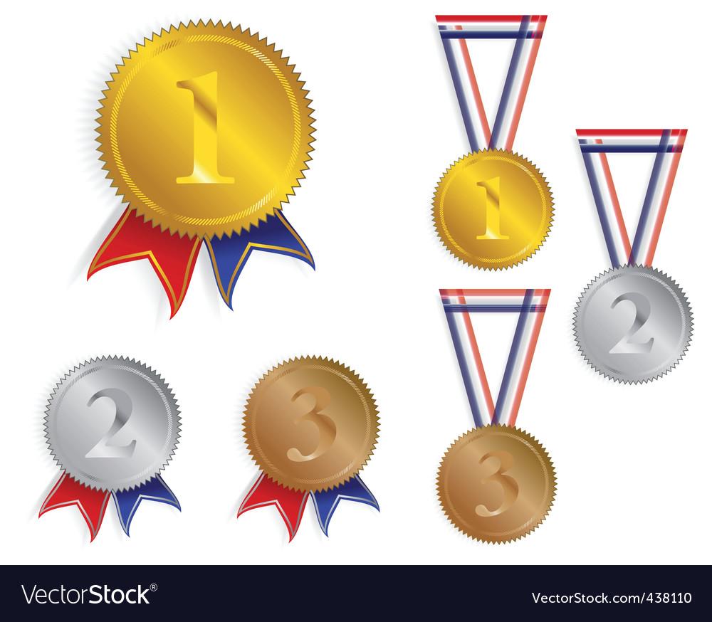 Award medals ribbons vector image