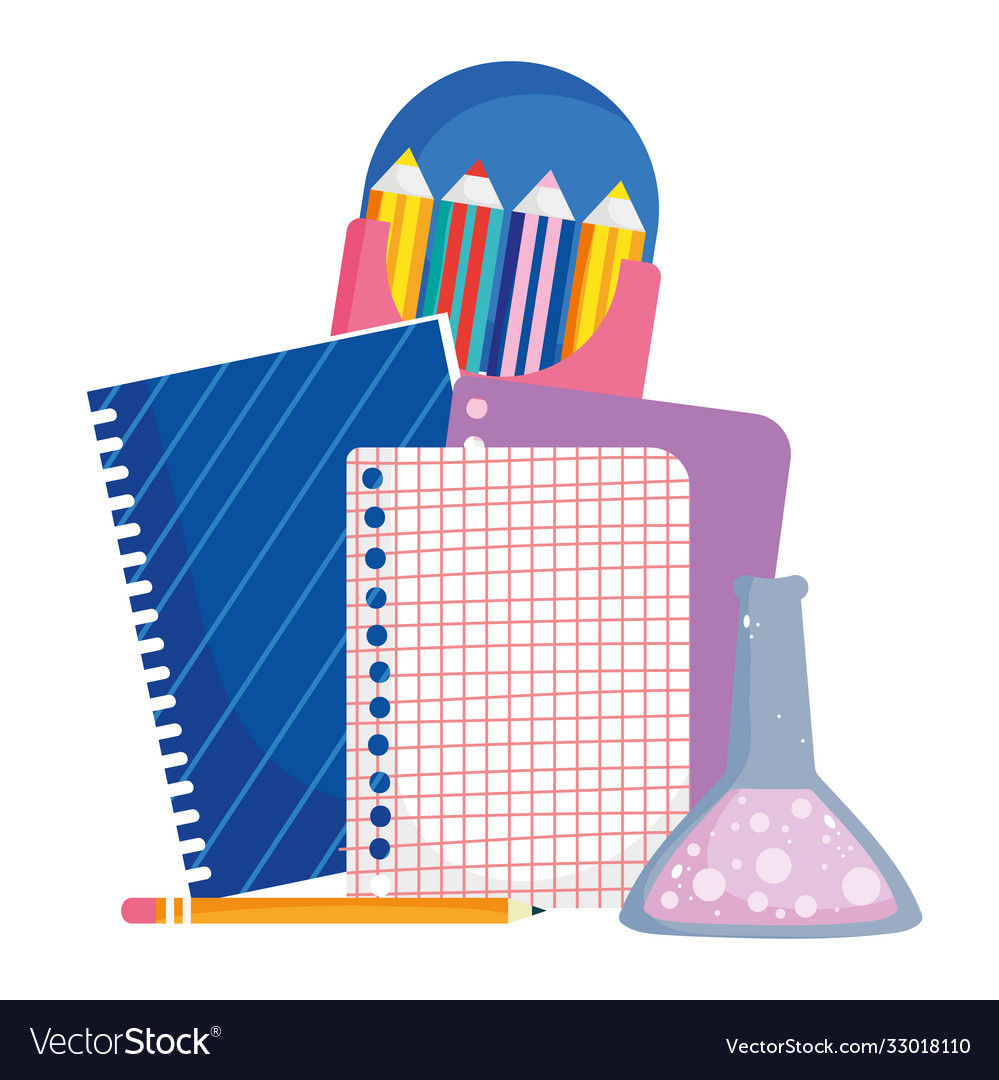 Back to school notebook paper test tube and color