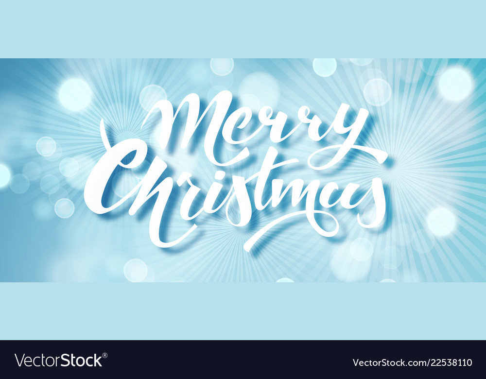 Blue merry christmas text hand drawn lettering