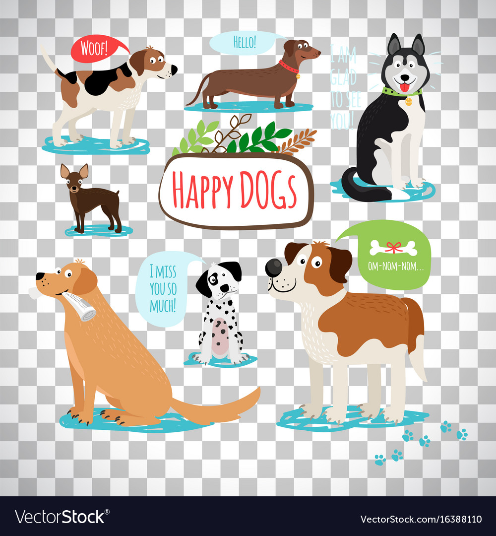 cartoon dogs on transparent background royalty free vector