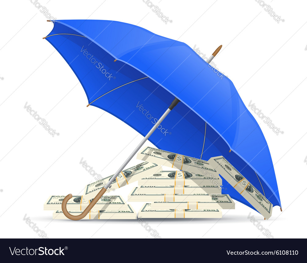Concept money under umbrella