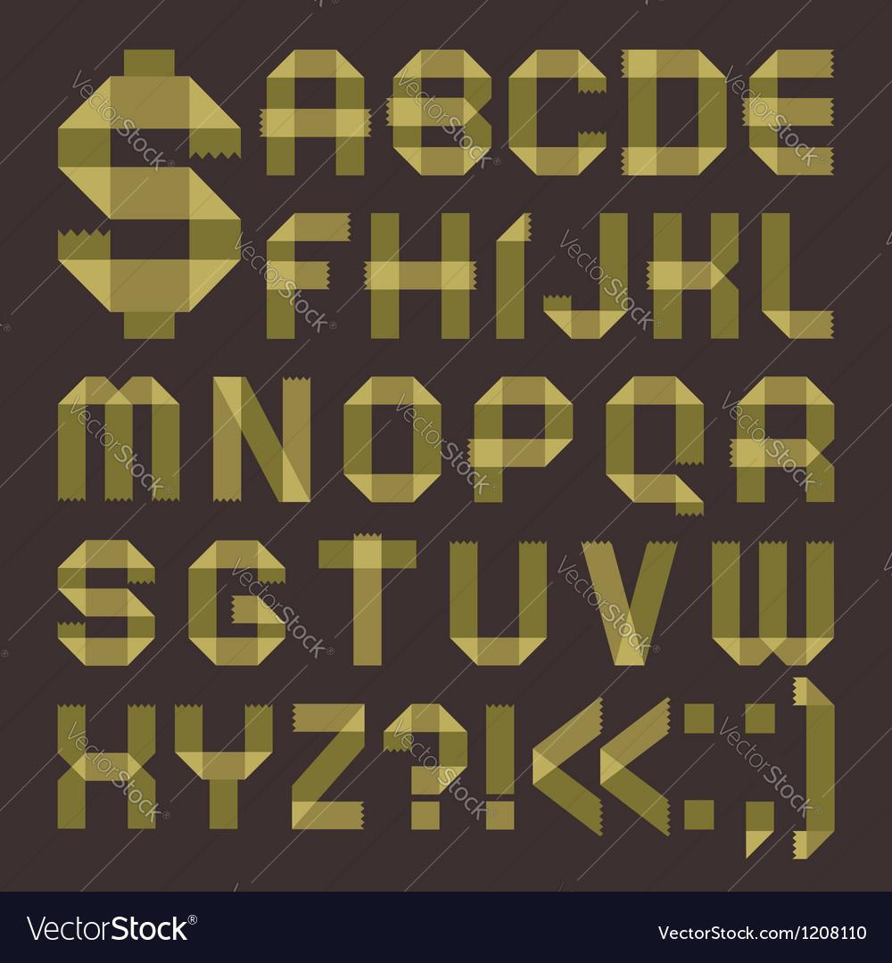 Font from greenish scotch tape - Roman alphabet
