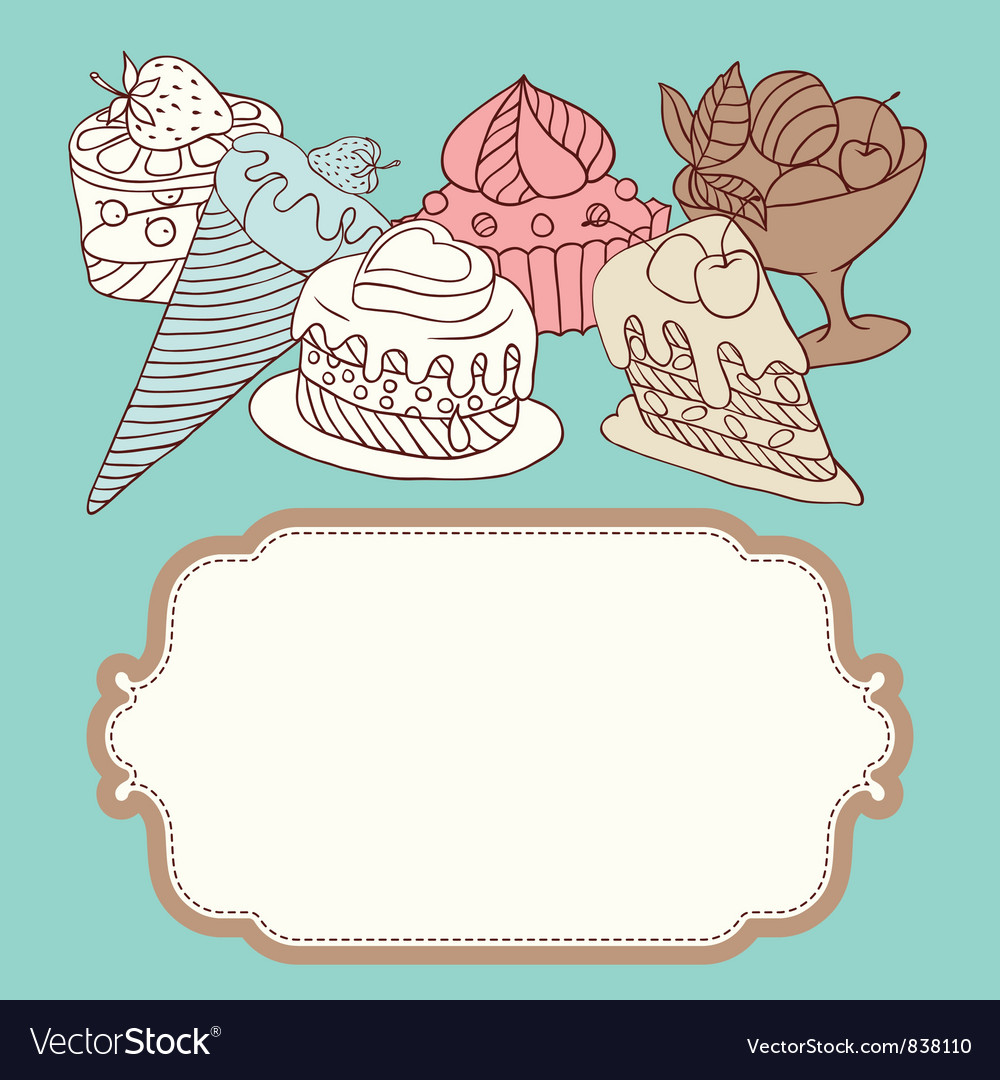 Frame with and sweet little cupcakes