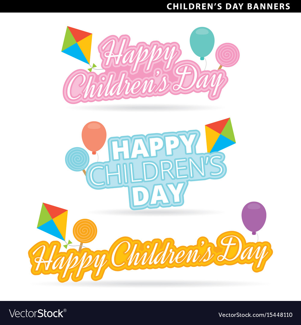 Happy childrens day banners