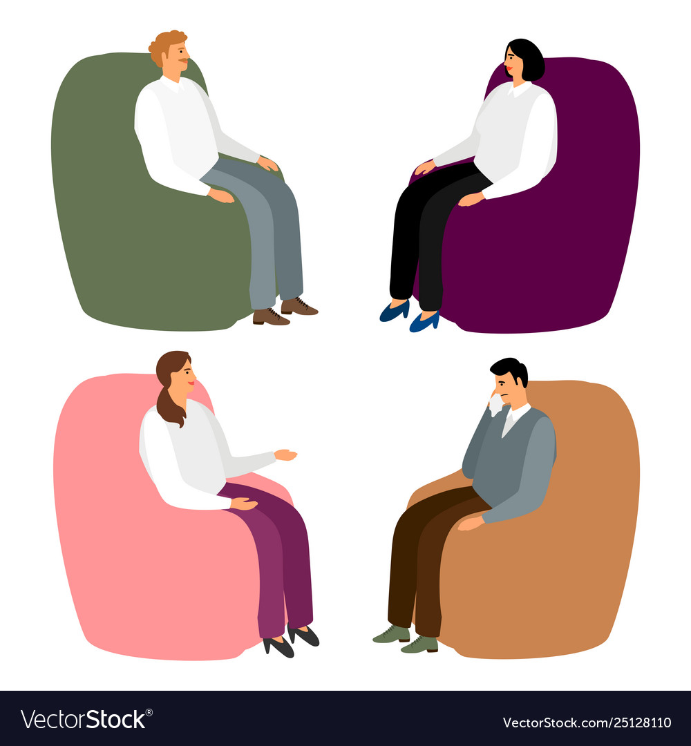 People in armchairs cartoon men and women sit in