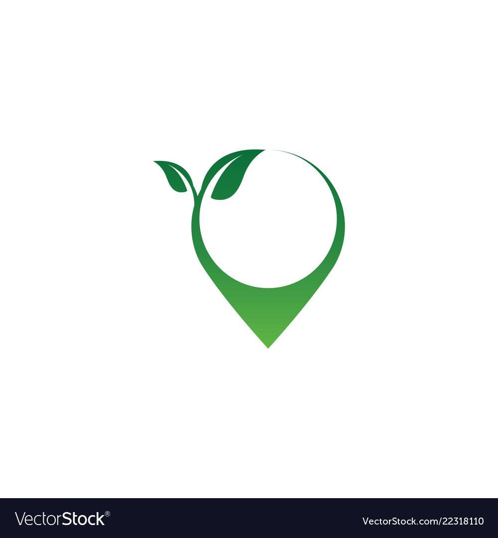 Pin map natural logo icon design template