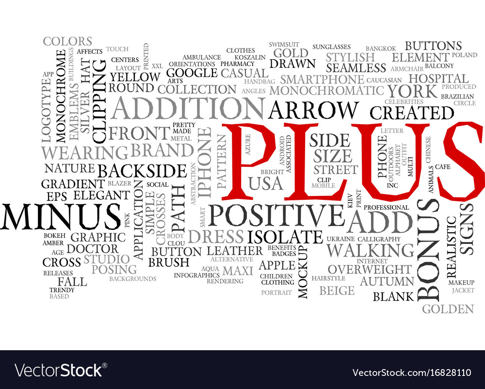 Plus word cloud concept Royalty Free Vector Image