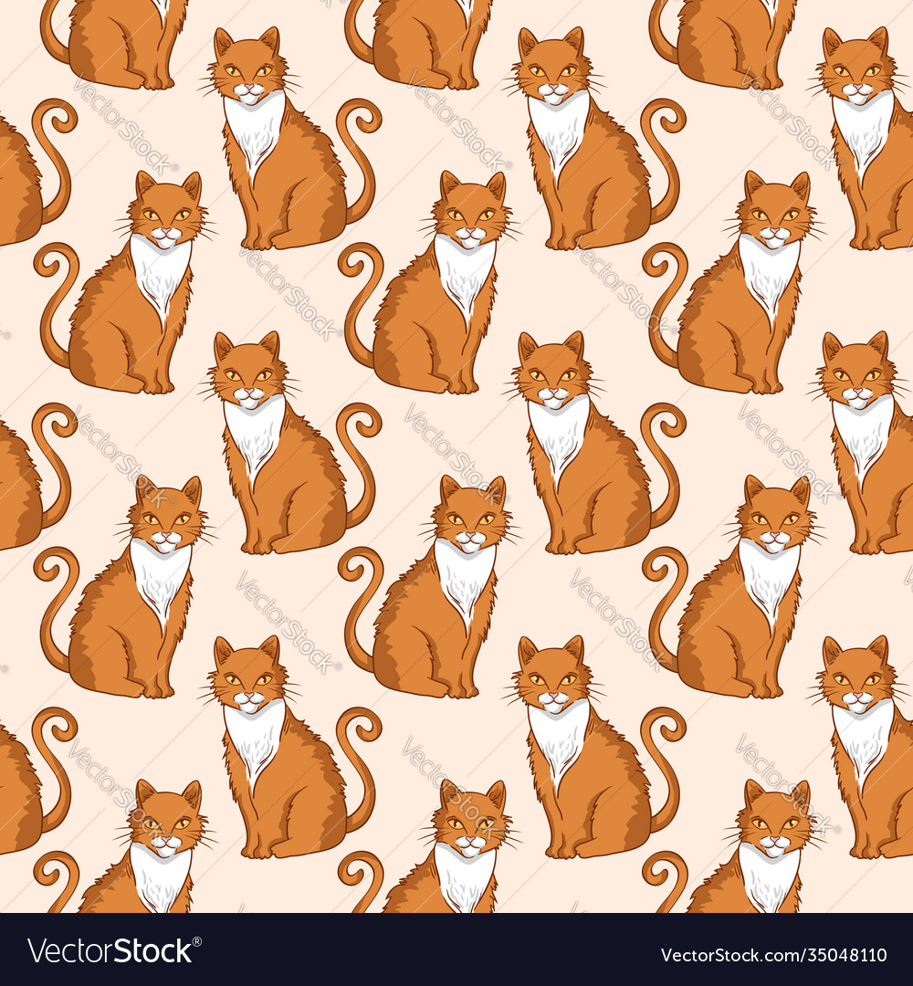 Seamless pattern design with cute red cats