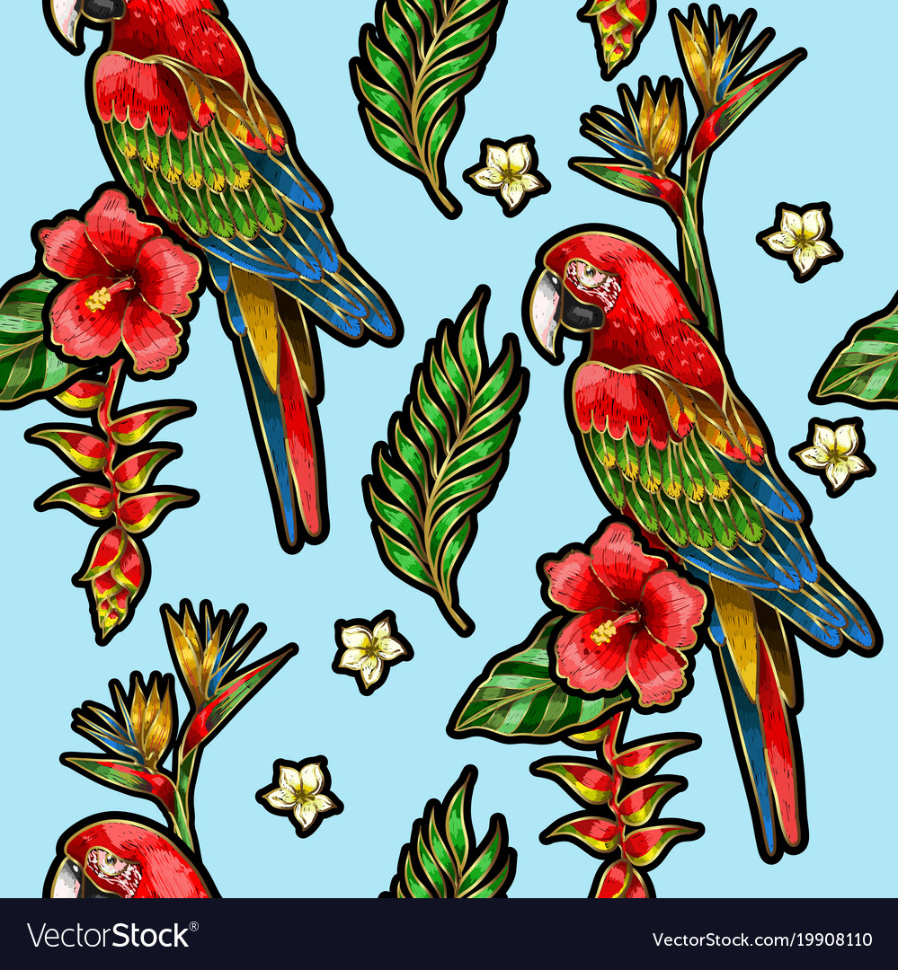 Seamless pattern with ara parrot