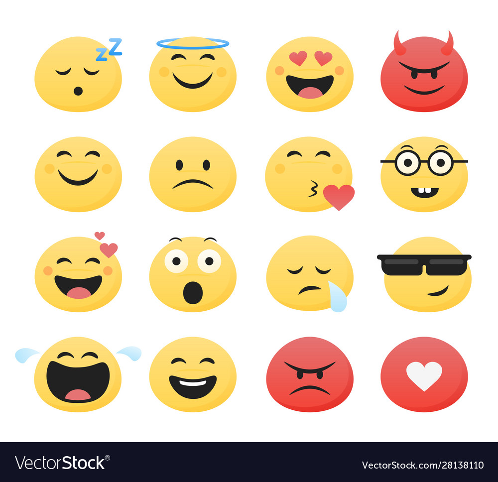 Set cute smiley emoticons flat design