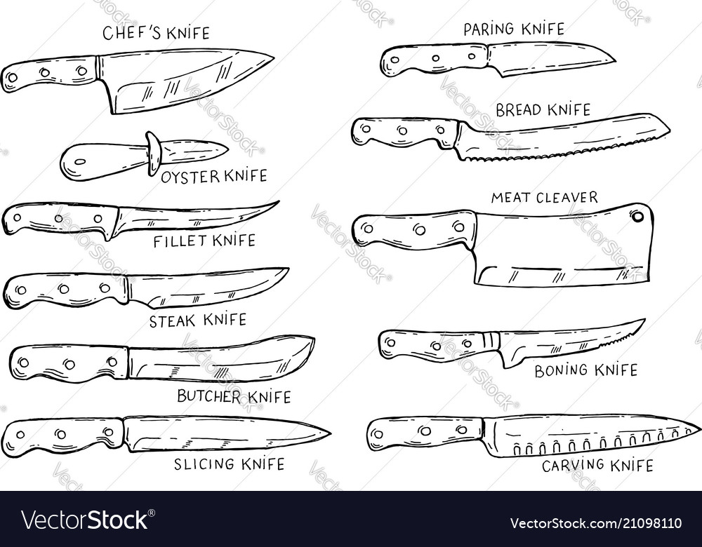 Set of hand drawn kitchen knives design element