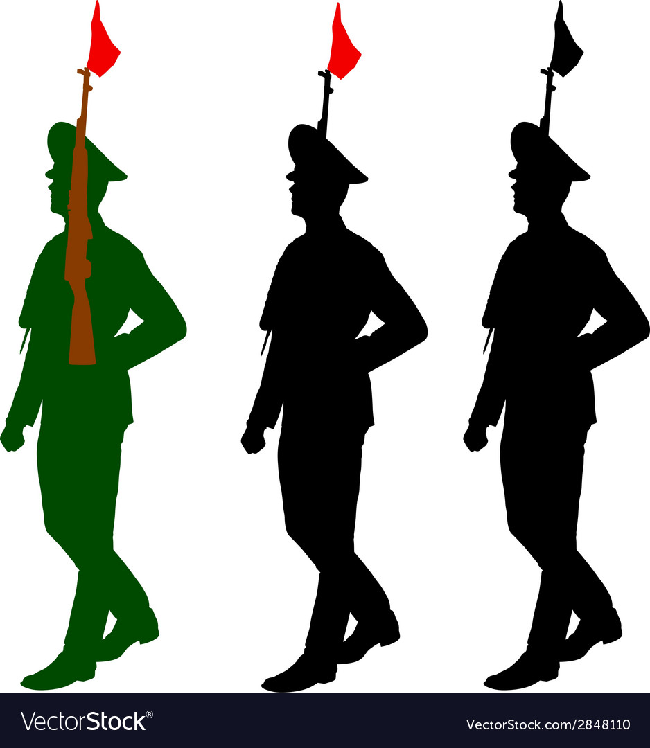 silhouette soldiers during a military parade vector image rh vectorstock com soldier vector art soldier vector image