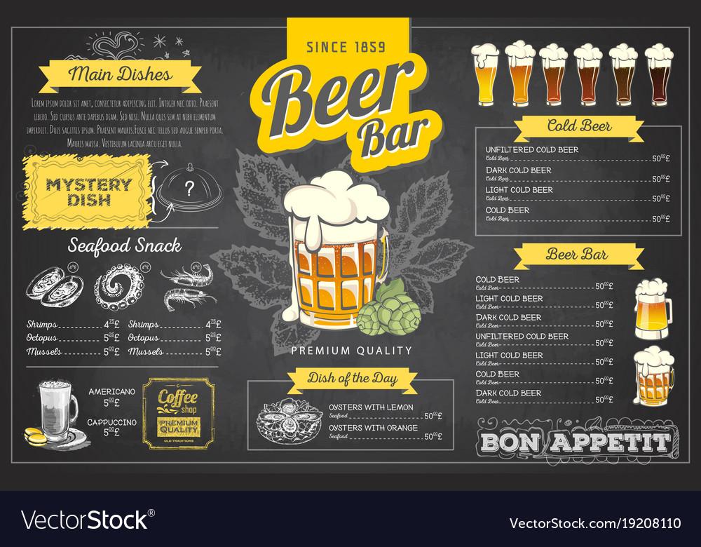 Vintage chalk drawing beer menu design
