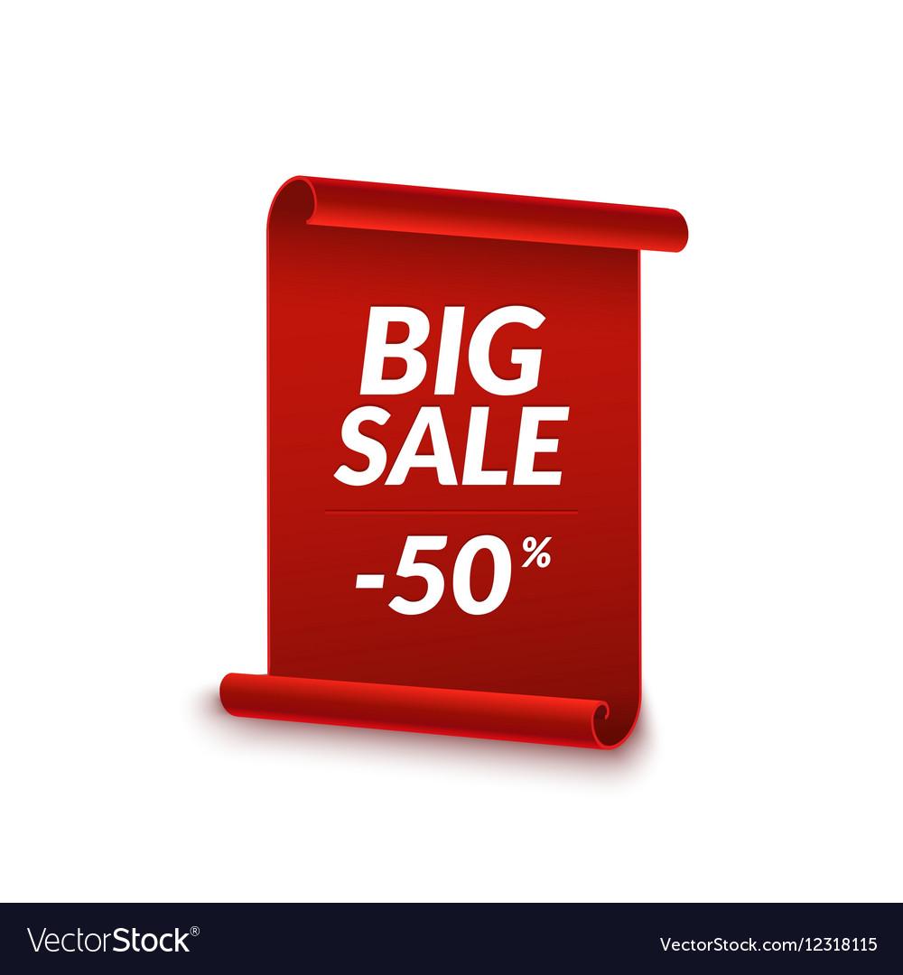 big sale ribbon design template banner sale tag vector image