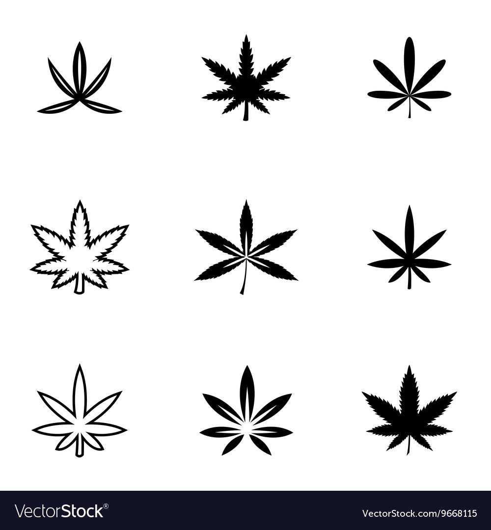 Black marijuana icon set