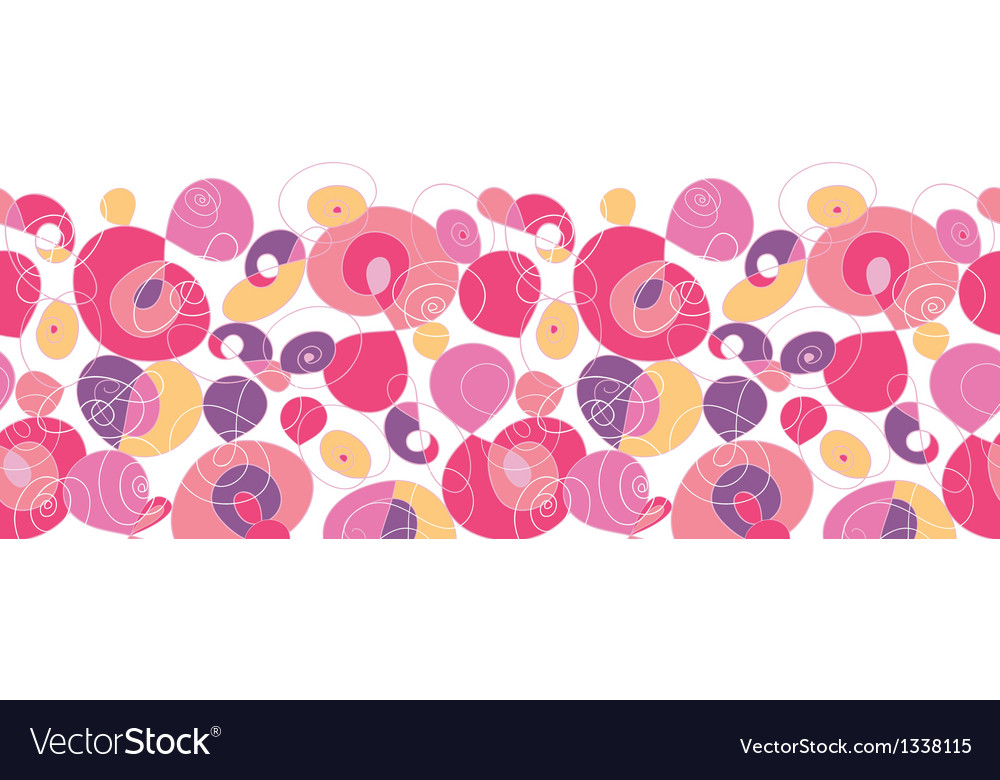 Colorful swirl shapes horizontal seamless pattern vector image