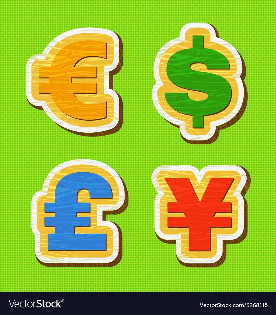 Currency symbol of a wooden texture
