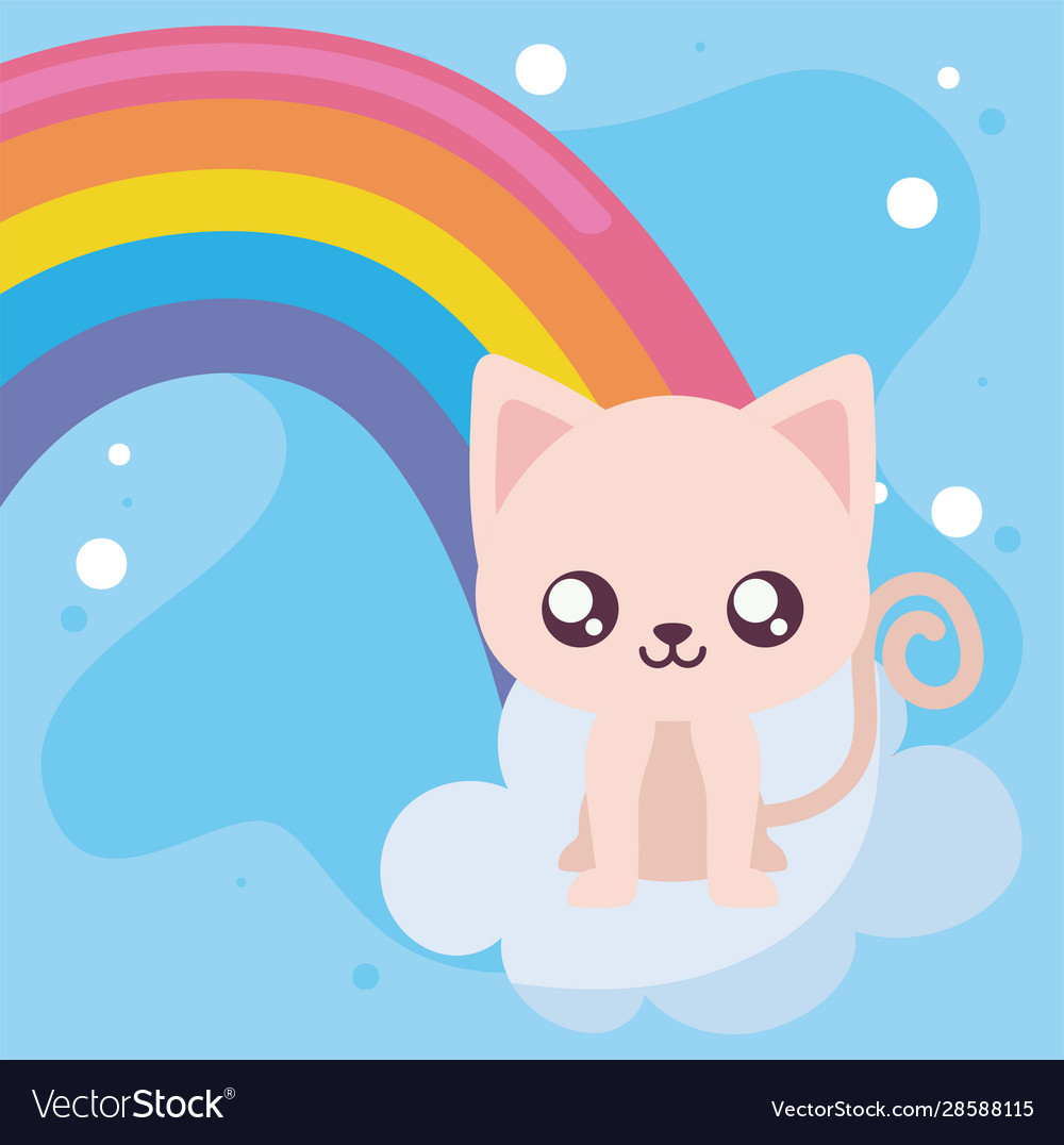 Cute Cat Cartoon And Rainbow Design Royalty Free Vector