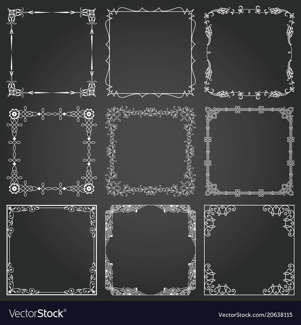 Decorative frames and borders square set