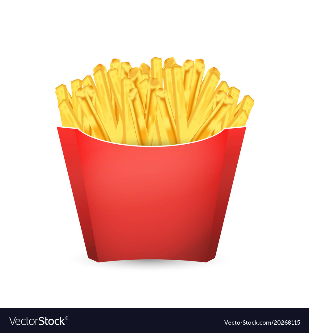 French Fries Potato In Red Bucket Fast Food Vector Image