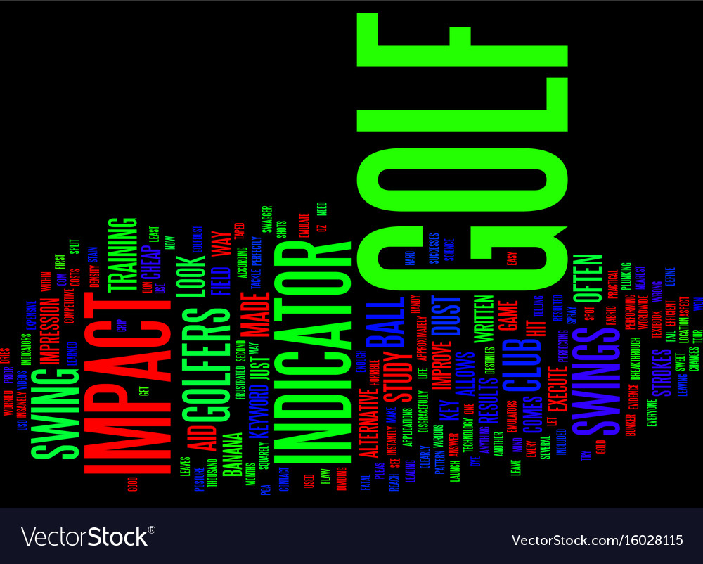 Golf impact indicator text background word cloud vector image