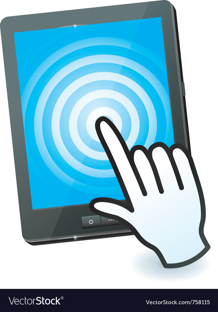 Hand cursor and tablet pc with touchscreen vector image