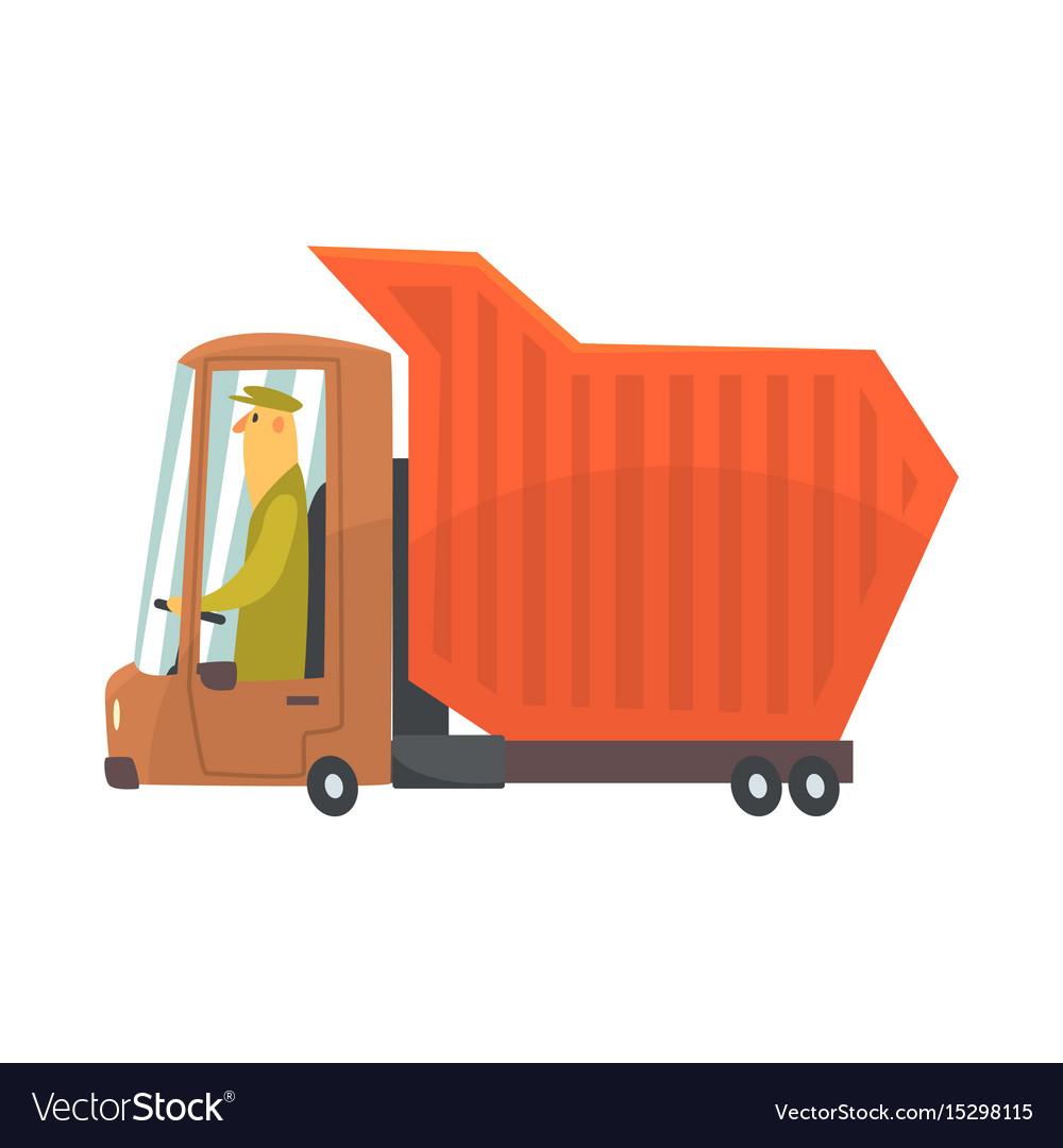 Orange heavy duty dump truck freight transport
