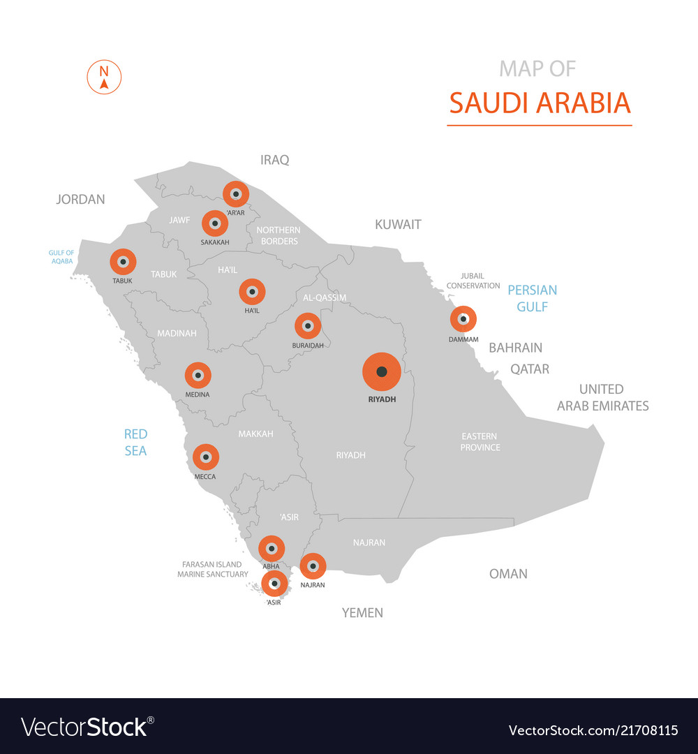 Saudi arabia map with administrative divisions Vector Image