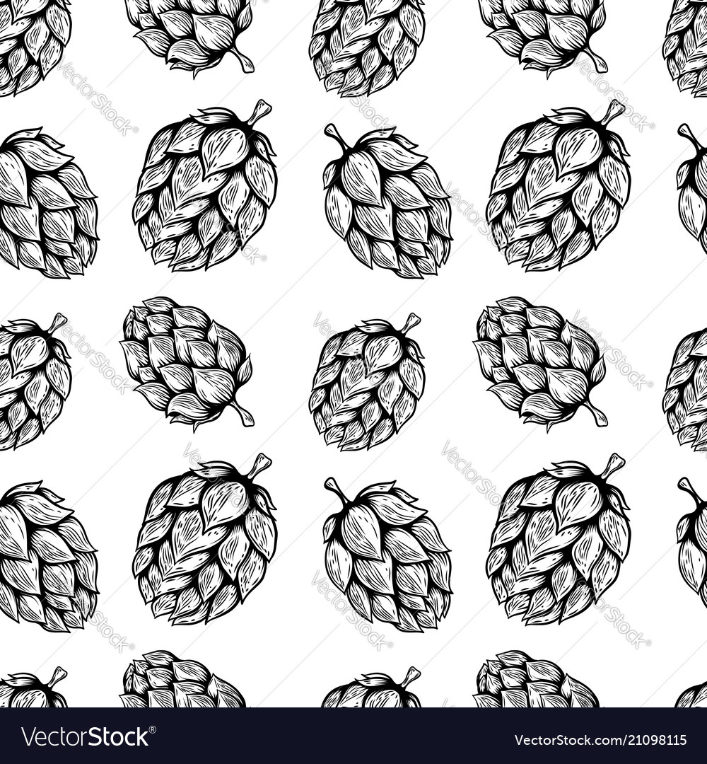 Seamless pattern with beer hop design element for