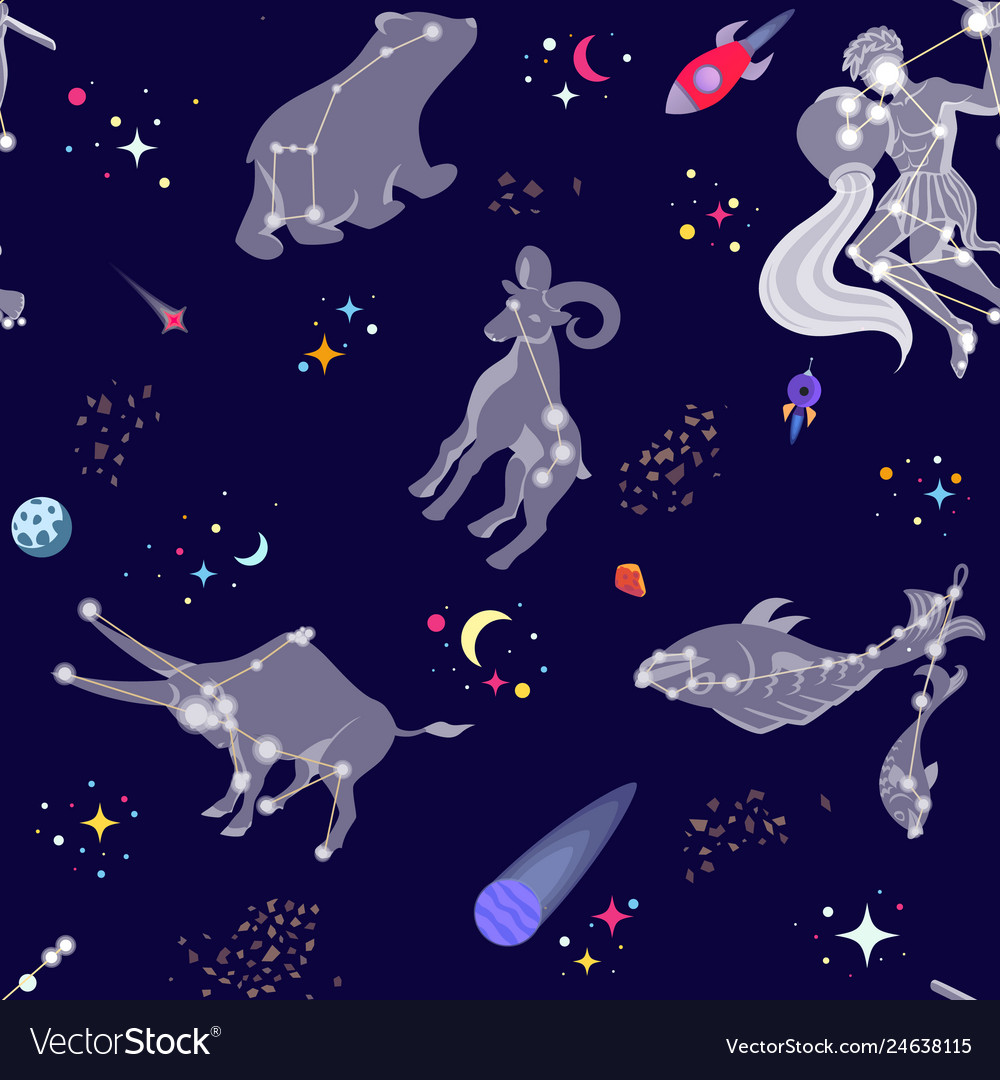 Seamless pattern with comstellations and stars