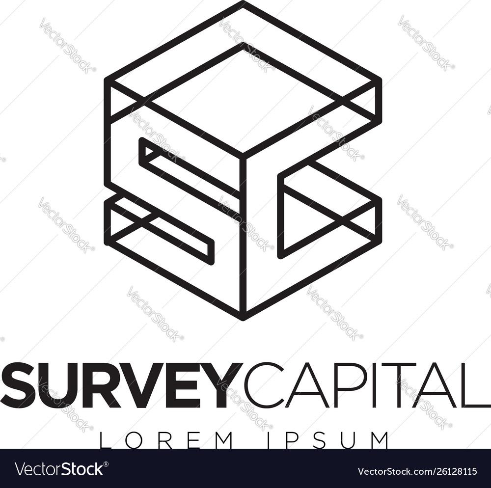 Simple Clean Line Cube Initial Letter Sc Logo