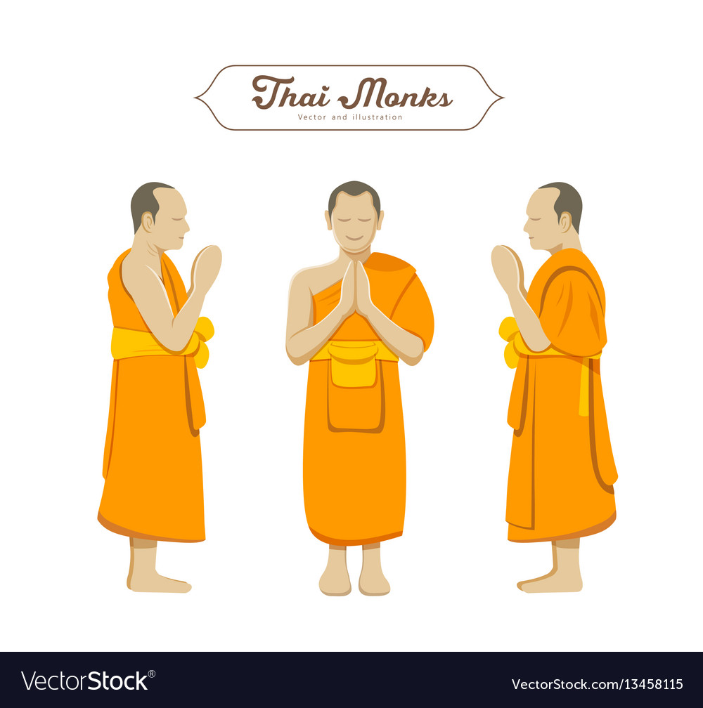 Thai monks greetings collections royalty free vector image thai monks greetings collections vector image m4hsunfo