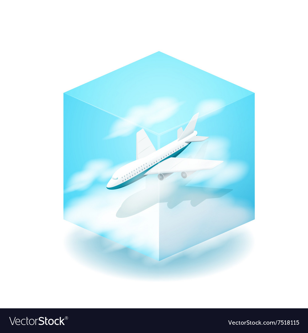 The cube The plane flies in the
