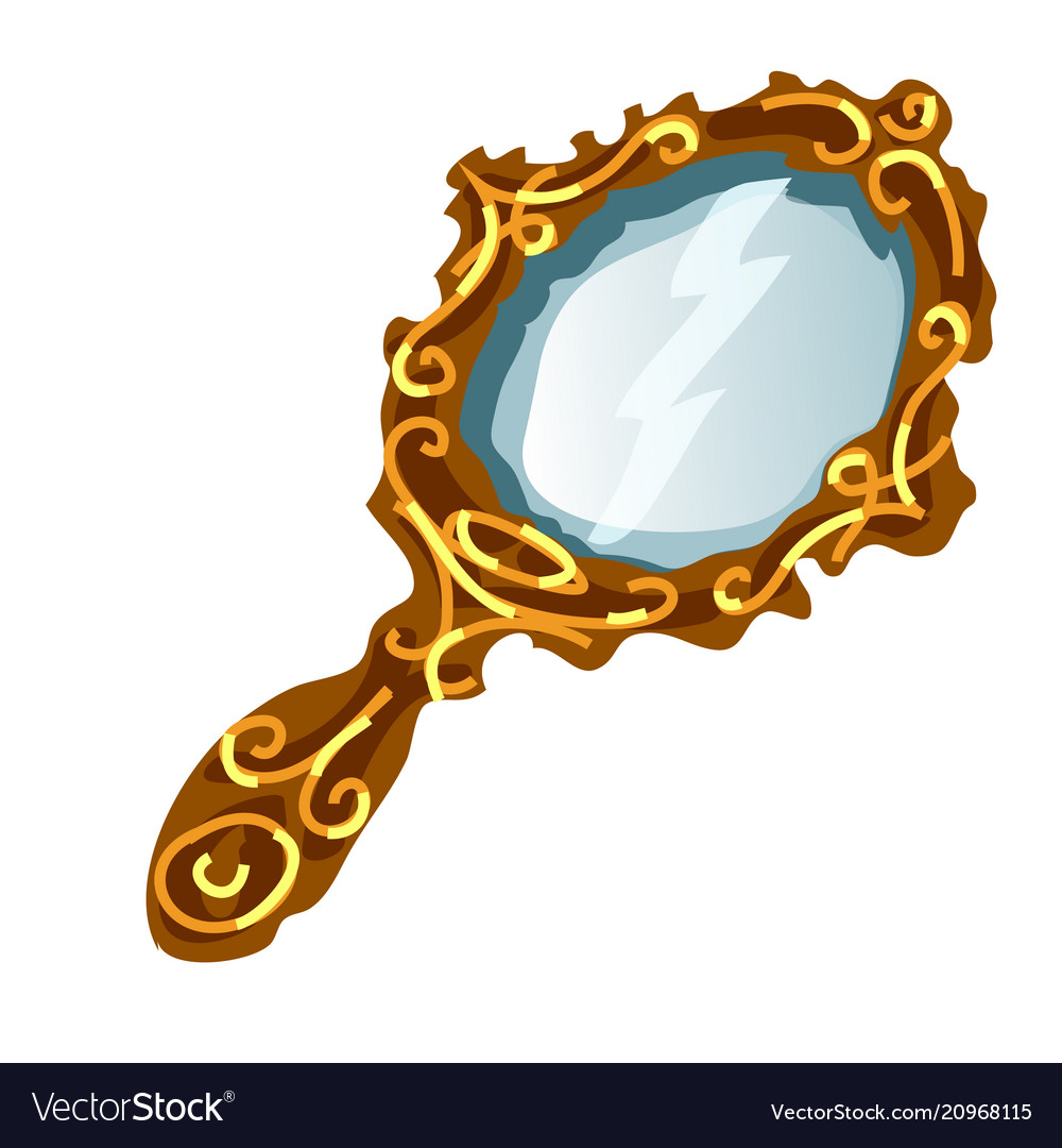 Vintage mirror in a gold frame with handle Vector Image