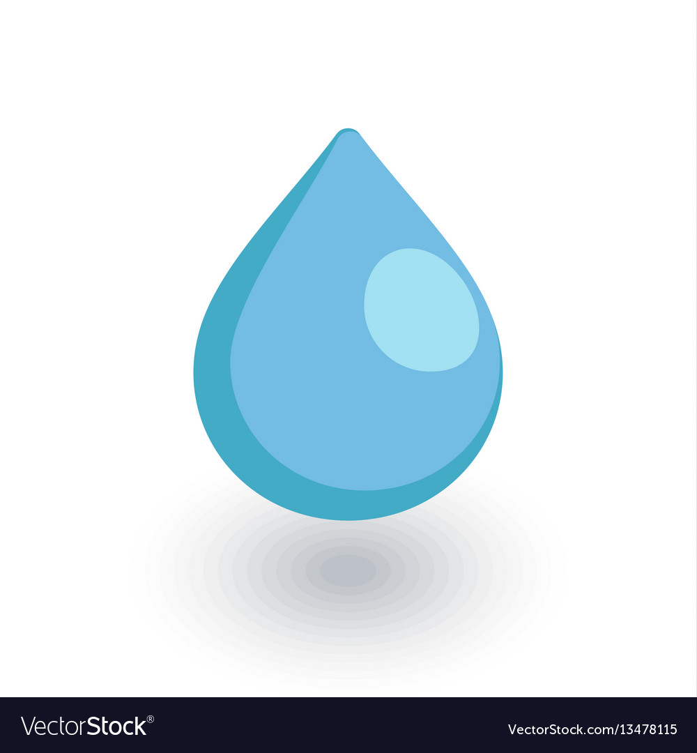 Water drop isometric flat icon 3d vector image