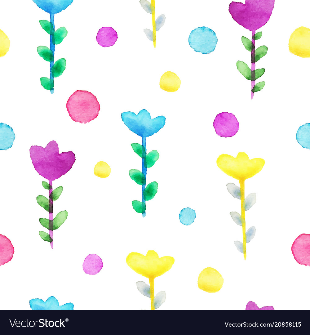 Watercolor floral seamless pattern flower summer