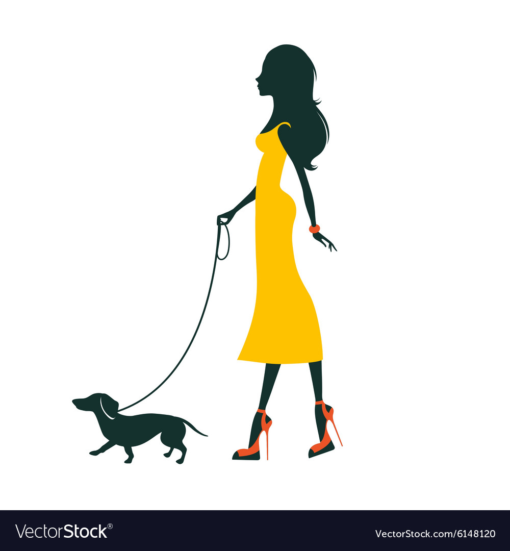 A Beautiful woman with dachshund vector image