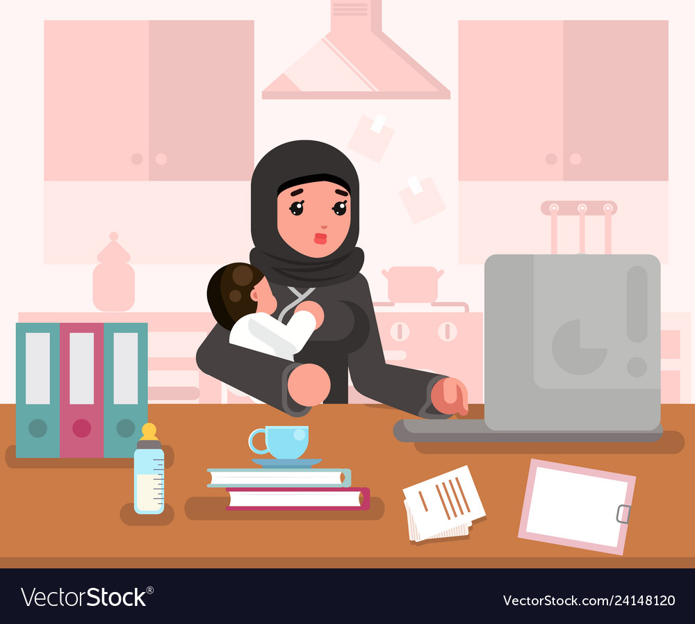 Arab working learning mother woman with child home