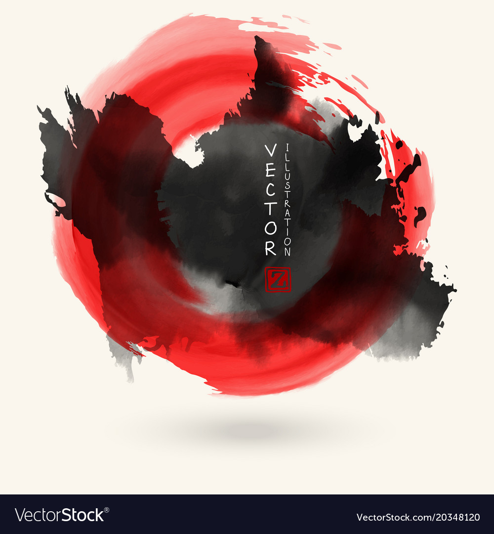Black ink round stroke on white vector image