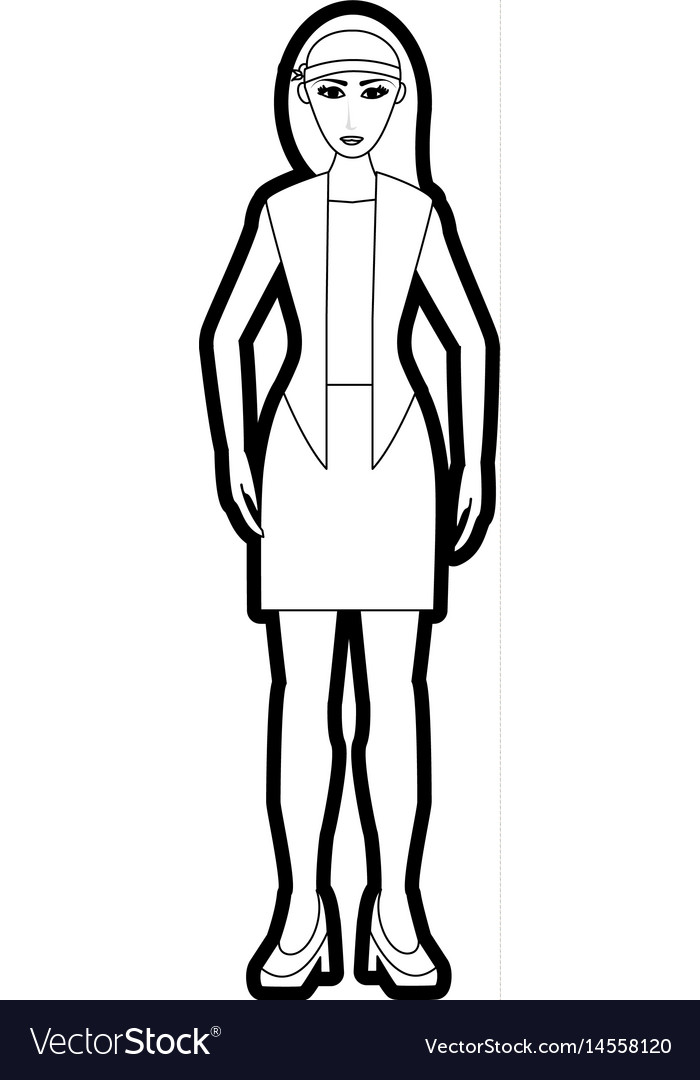 Black silhouette cartoon full body woman with