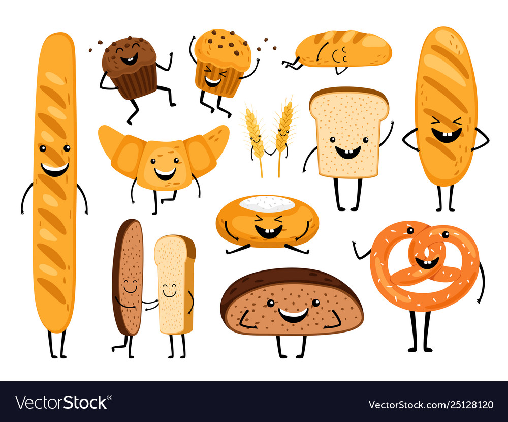 Bread characters funny tasty bakery pastries