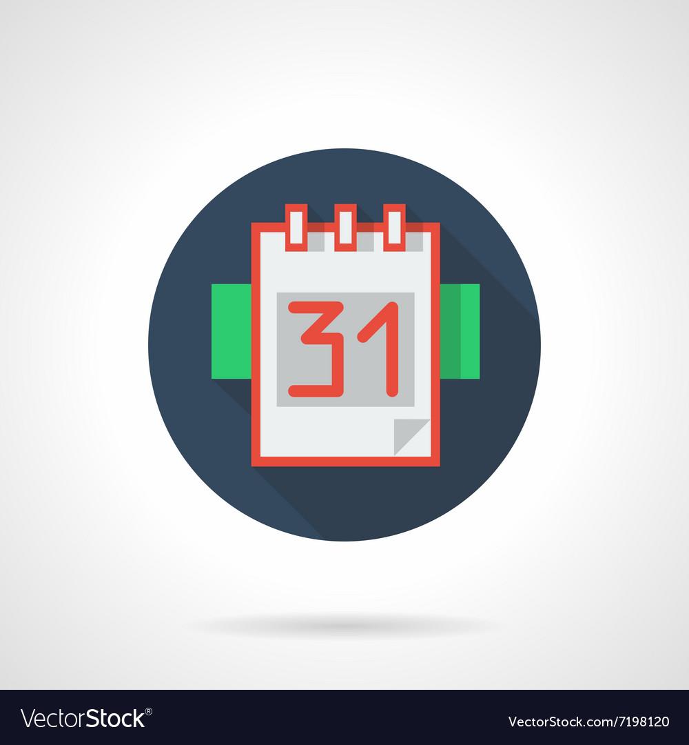 Calendar page 31 blue round flat icon