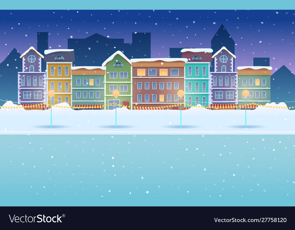 Cartoon night winter city snowy background