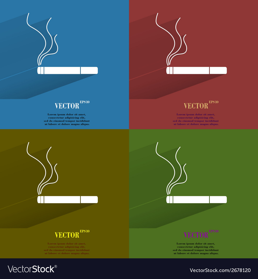 Color set Smoking sign cigarette Flat modern web vector image
