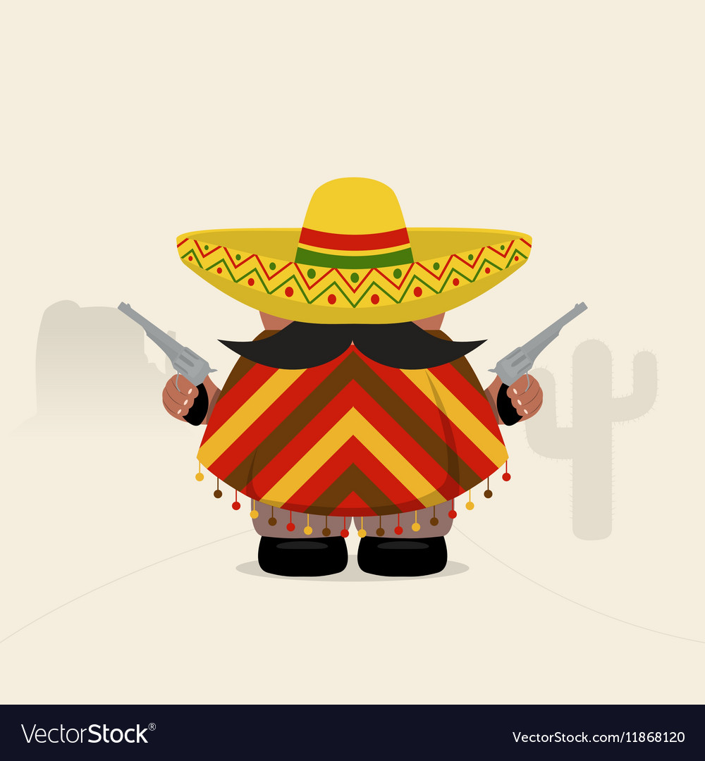 Funny western bandit in sombrero and poncho vector image
