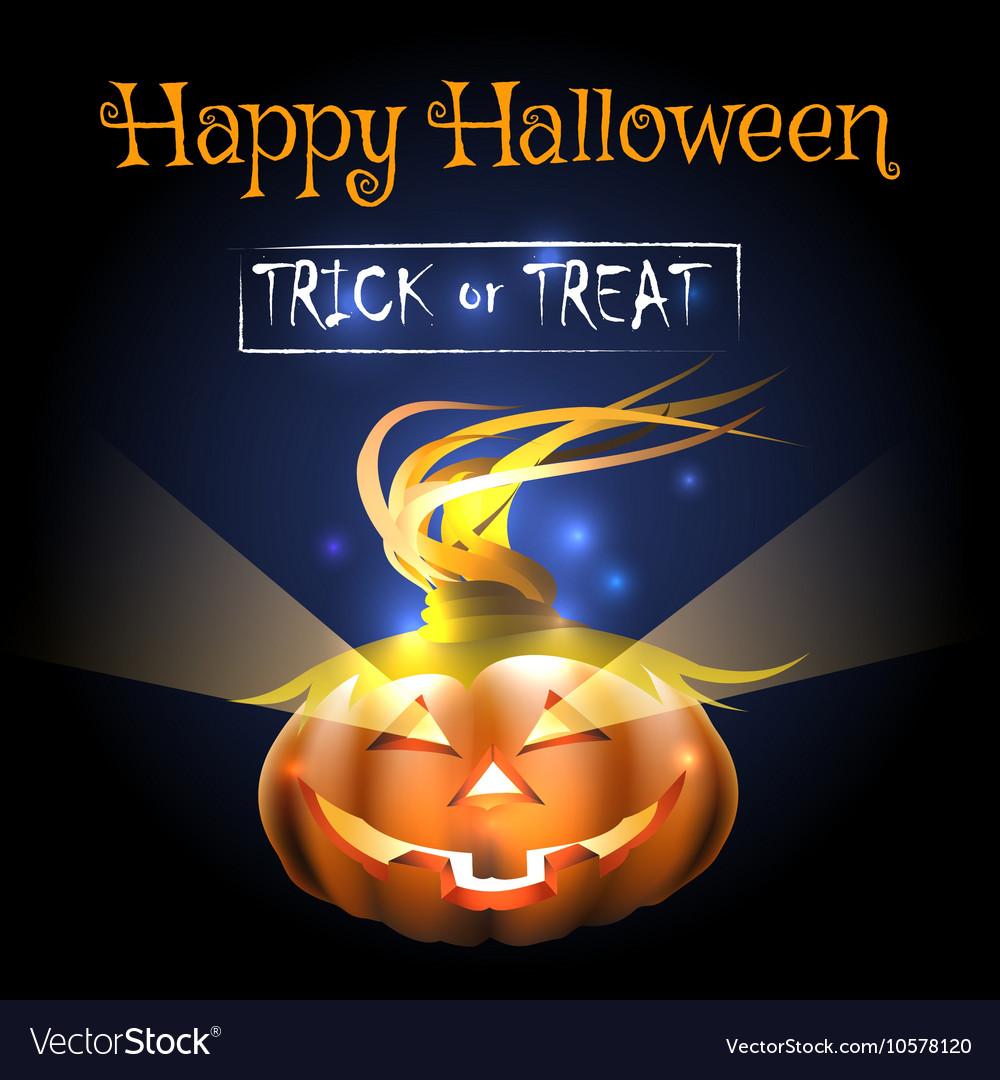Happy Halloween Poster with Pumpkin