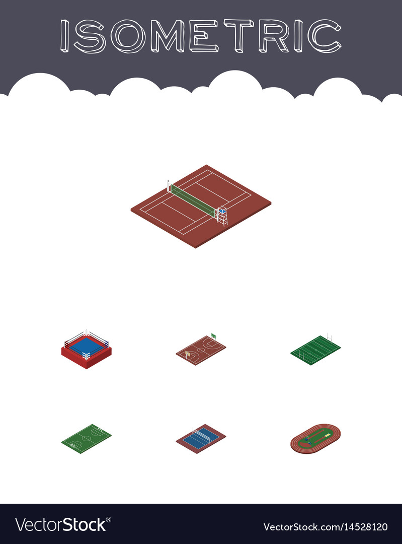 Isometric sport set of volleyball fighting