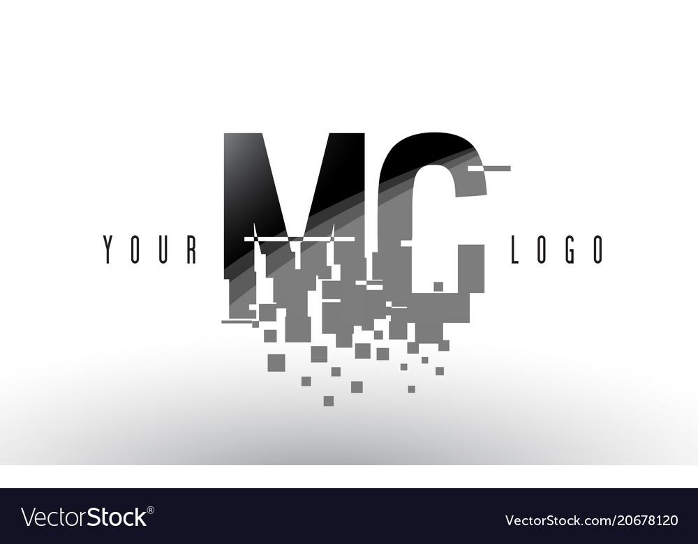 Mc m c pixel letter logo with digital shattered