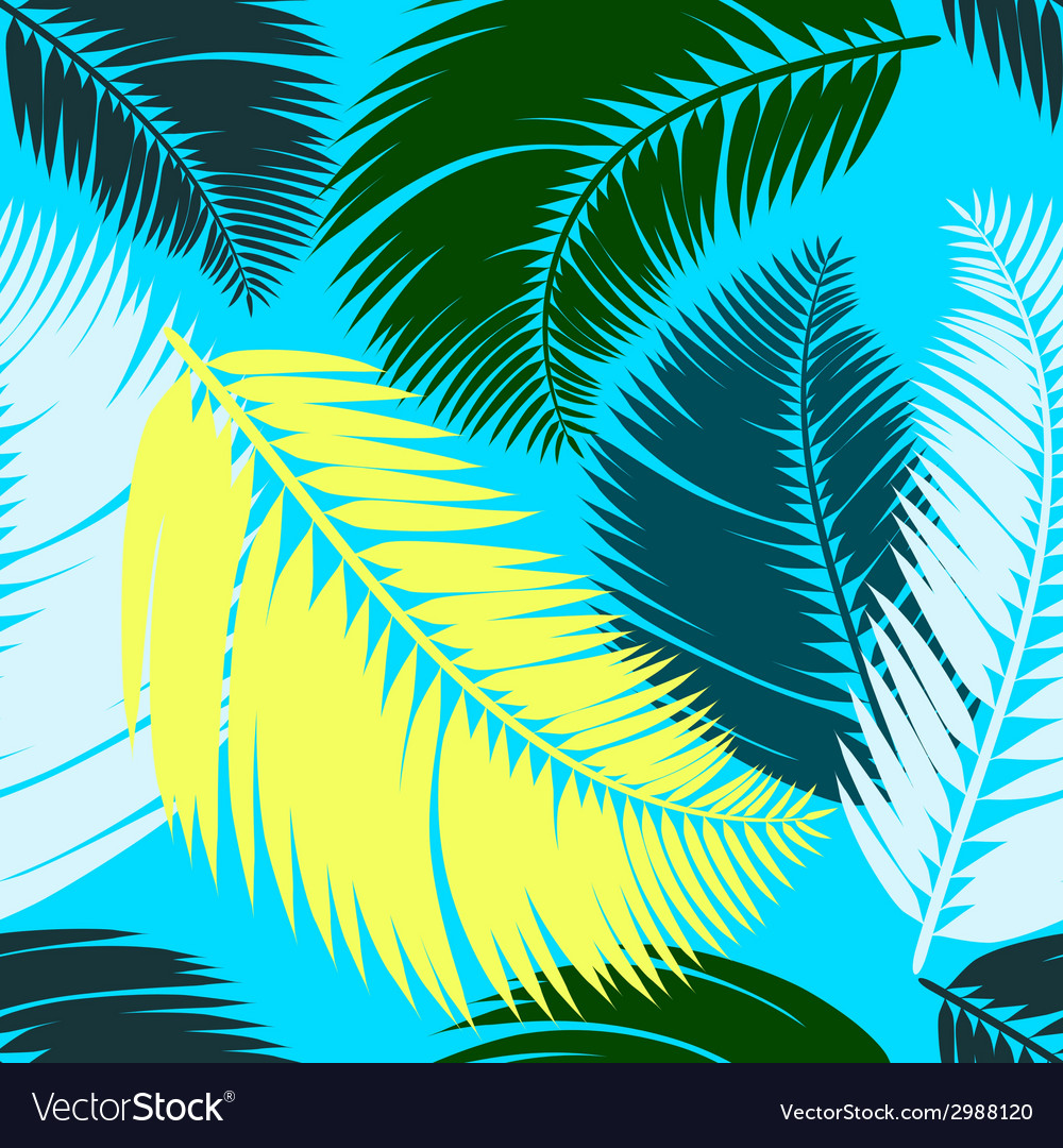 Multicolour palm leaves seamless pattern vector image